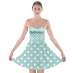 Blue And White Polka Dots Strapless Bra Top Dress by creativemom