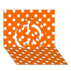 Orange And White Polka Dots Peace Sign 3d Greeting Card (7x5)  by creativemom