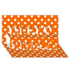 Orange And White Polka Dots Merry Xmas 3D Greeting Card (8x4)  by creativemom