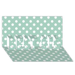 Light Blue And White Polka Dots BEST SIS 3D Greeting Card (8x4)