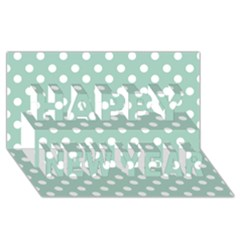 Light Blue And White Polka Dots Happy New Year 3d Greeting Card (8x4)  by creativemom
