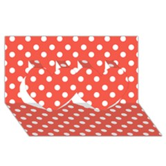 Indian Red Polka Dots Twin Hearts 3d Greeting Card (8x4)