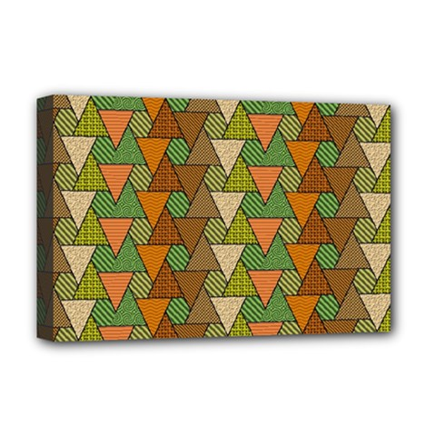 Geo Fun 7 Warm Autumn  Deluxe Canvas 18  x 12   by MoreColorsinLife