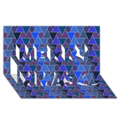 Geo Fun 7 Inky Blue Merry Xmas 3d Greeting Card (8x4)  by MoreColorsinLife