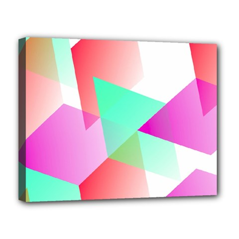 Geometric 03 Pink Canvas 14  X 11  by MoreColorsinLife