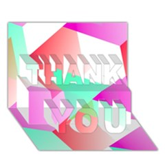 Geometric 03 Pink Thank You 3d Greeting Card (7x5)  by MoreColorsinLife
