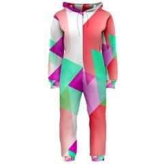Geometric 03 Pink Hooded Jumpsuit (ladies)  by MoreColorsinLife
