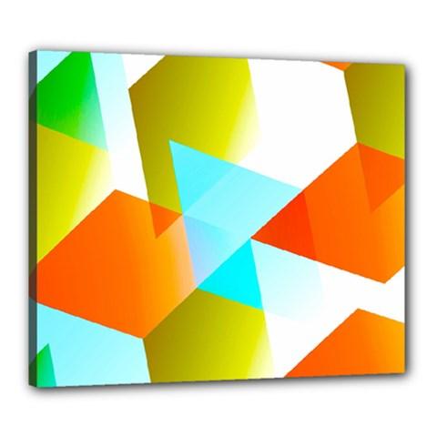 Geometric 03 Orange Canvas 24  X 20  by MoreColorsinLife