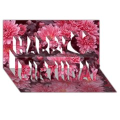 Awesome Flowers Red Happy Birthday 3d Greeting Card (8x4)  by MoreColorsinLife