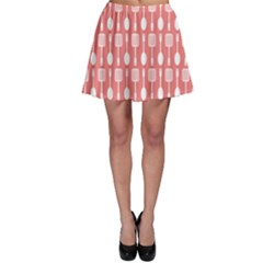 Coral And White Kitchen Utensils Pattern Skater Skirts by creativemom