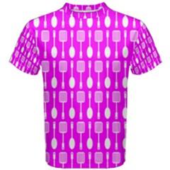 Purple Spatula Spoon Pattern Men s Cotton Tees