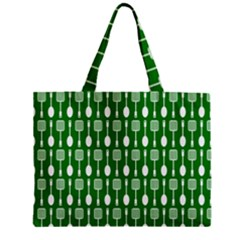 Green And White Kitchen Utensils Pattern Zipper Tiny Tote Bags by creativemom