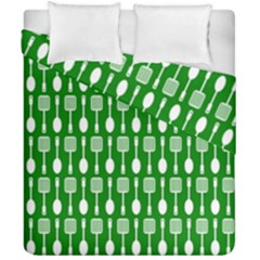 Green And White Kitchen Utensils Pattern Duvet Cover (double Size) by creativemom