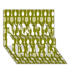 Olive Green Spatula Spoon Pattern Work Hard 3d Greeting Card (7x5)  by creativemom