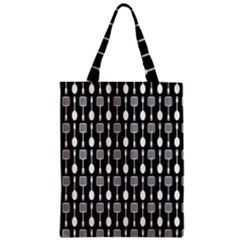 Black And White Spatula Spoon Pattern Zipper Classic Tote Bags by creativemom