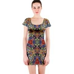 Magnificent Kaleido Design Short Sleeve Bodycon Dresses by MoreColorsinLife