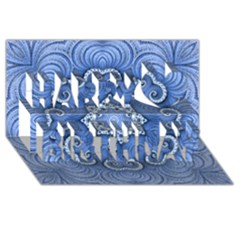 Awesome Kaleido 07 Blue Happy Birthday 3d Greeting Card (8x4)  by MoreColorsinLife