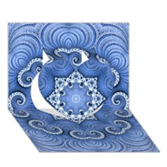 Awesome Kaleido 07 Blue Heart 3D Greeting Card (7x5)