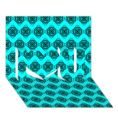 Abstract Knot Geometric Tile Pattern I Love You 3D Greeting Card (7x5)  by creativemom