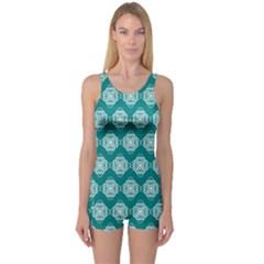 Abstract Knot Geometric Tile Pattern Women s Boyleg One Piece Swimsuits