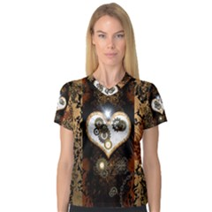 Steampunk, Awesome Heart With Clocks And Gears Women s V Neck Sport Mesh Tee by FantasyWorld7