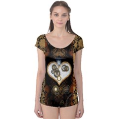 Steampunk, Awesome Heart With Clocks And Gears Short Sleeve Leotard