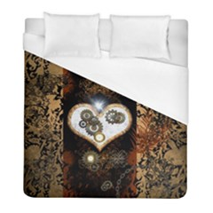 Steampunk, Awesome Heart With Clocks And Gears Duvet Cover Single Side (twin Size) by FantasyWorld7