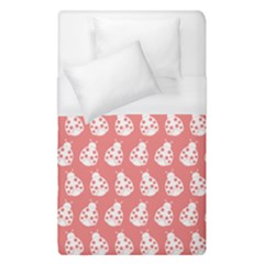 Coral And White Lady Bug Pattern Duvet Cover Single Side (single Size) by creativemom
