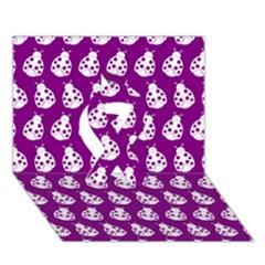Ladybug Vector Geometric Tile Pattern Ribbon 3D Greeting Card (7x5)  by creativemom