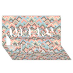Trendy Chic Modern Chevron Pattern Merry Xmas 3D Greeting Card (8x4)