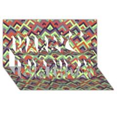 Trendy Chic Modern Chevron Pattern Happy Birthday 3d Greeting Card (8x4)  by creativemom