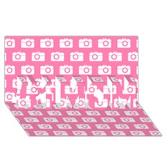 Pink Modern Chic Vector Camera Illustration Pattern #1 Mom 3d Greeting Cards (8x4)  by creativemom