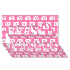 Pink Modern Chic Vector Camera Illustration Pattern Best Wish 3d Greeting Card (8x4)  by creativemom