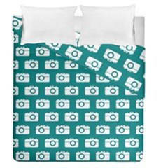 Modern Chic Vector Camera Illustration Pattern Duvet Cover (Full/Queen Size) by creativemom