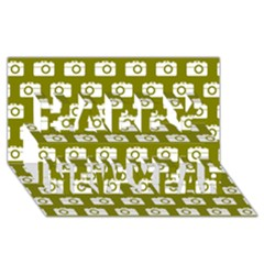 Modern Chic Vector Camera Illustration Pattern Happy New Year 3d Greeting Card (8x4)  by creativemom