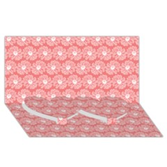 Coral Pink Gerbera Daisy Vector Tile Pattern Twin Heart Bottom 3d Greeting Card (8x4)  by creativemom