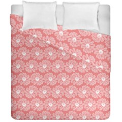 Coral Pink Gerbera Daisy Vector Tile Pattern Duvet Cover (Double Size) by creativemom