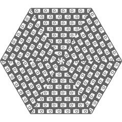 Modern Chic Vector Camera Illustration Pattern Mini Folding Umbrellas by creativemom