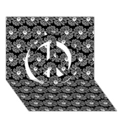 Black And White Gerbera Daisy Vector Tile Pattern Peace Sign 3D Greeting Card (7x5)