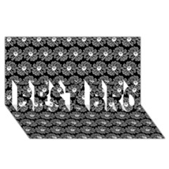 Black And White Gerbera Daisy Vector Tile Pattern Best Bro 3d Greeting Card (8x4)  by creativemom