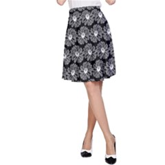 Black And White Gerbera Daisy Vector Tile Pattern A Line Skirts by creativemom