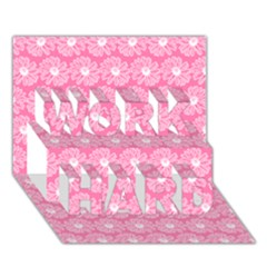 Pink Gerbera Daisy Vector Tile Pattern Work Hard 3d Greeting Card (7x5)  by creativemom