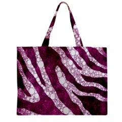 Purple Zebra Print Bling Pattern  Zipper Tiny Tote Bags