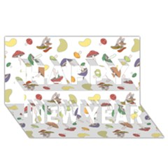 Mushrooms Pattern Happy New Year 3D Greeting Card (8x4)  by Famous