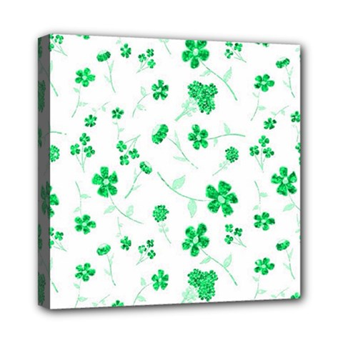 Sweet Shiny Floral Green Mini Canvas 8  X 8  by ImpressiveMoments