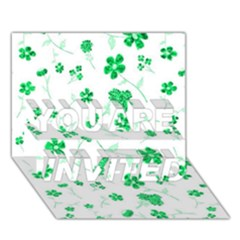Sweet Shiny Floral Green YOU ARE INVITED 3D Greeting Card (7x5)  by ImpressiveMoments