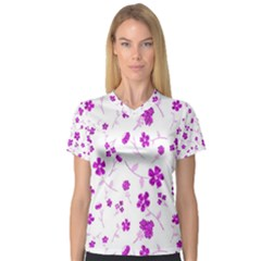 Sweet Shiny Floral Pink Women s V Neck Sport Mesh Tee by ImpressiveMoments