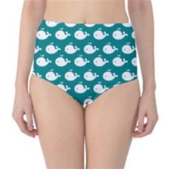 Cute Whale Illustration Pattern High Waist Bikini Bottoms