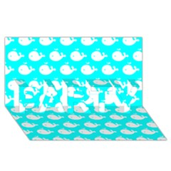 Cute Whale Illustration Pattern Party 3d Greeting Card (8x4)