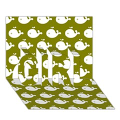 Cute Whale Illustration Pattern Girl 3d Greeting Card (7x5)  by creativemom